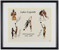 Basketball Collectibles:Photos, Los Angeles Lakers Legends Multi Signed Print....
