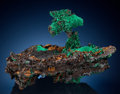 "Minerals:Cabinet Specimens, Malachite on Native Copper: Malachite ""Mushroom"". 26K Stope,1400 Level, Cole Mine, Bisbee, Warren District, Mule Mts, Co..."