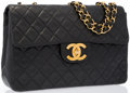 "Luxury Accessories:Accessories, Chanel Black Quilted Lambskin Leather Single Flap Maxi Bag withGold Hardware. Good to Very Good Condition. 13"" Width..."