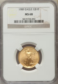 Modern Bullion Coins: , 1989 $10 Quarter-Ounce Gold Eagle MS68 NGC. NGC Census: (21/2124). PCGS Population (92/1346). Numismedia Wsl. Price for pr...