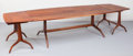 Furniture : American, Sam Maloof (American, 1916-2009). A Rare and Early Dining Tablewith End Table Extensions, 1961. California walnut, leat...(Total: 3 Items)