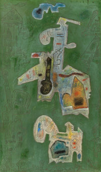 Ynez Johnston (American, 1920) Oasis, 1969 Mixed media relief 30 x 18 inches (76.2 x 45.7 cm)