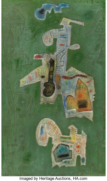 Ynez Johnston (American, 1920) Oasis, 1969 Mixed media relief 30 x 18 inches (76.2 x 45.7 cm) Signed, dated, and tit...