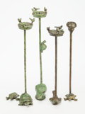 Sculpture, Ilana Goor (Israeli, b 1936). Two Pairs of Birdbath Candelabra, circa 1985. Bronze with green patina. 21 inches (53.3 cm... (Total: 4 Items)