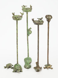 Ilana Goor (Israeli, b 1936) Two Pairs of Birdbath Candelabra, circa 1985 Bronze with green patina