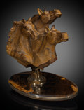 Lapidary Art:Carvings, Tiger's Eye Horses . Artist: Luis Alberto Quispe Aparicio.Stone source: South Africa. ...