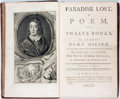 Books:Literature Pre-1900, John Milton. Paradise Lost. A Poem, in Twelve Books. London:Printed for J. and R. Tonfon, B. Dodd, H. Woodfall... 1...
