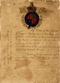Autographs:Non-American, Royal Warrant in the Reign of Queen Victoria. Dated February 24,1840. ...