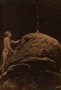 Photographs, Edward Sheriff Curtis (American, 1868-1952). Signal Fire to the Mountain Gods, 1909. Orotone. 4 x 3 inches (10.2 x 7.6 c...