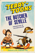 "Movie Posters:Animation, Mighty Mouse/Terry-Toons (20th Century Fox, 1943). Stock One Sheet (27"" X 41""). ""The Butcher of Seville."". ..."