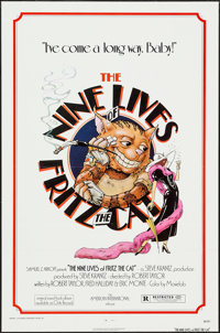 "The Nine Lives of Fritz the Cat (American International, 1974). One Sheet (27"" X 41"") Flat Folded. Animation..."