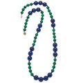 Estate Jewelry:Necklaces, Lapis Lazuli, Malachite, Gold Necklace. ...