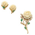 Estate Jewelry:Suites, White Coral, Emerald, Gold Suite. ... (Total: 2 Items)