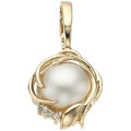 Estate Jewelry:Pendants and Lockets, Mabe Pearl, Diamond, Gold Pendant. ...