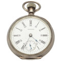Timepieces:Pocket (post 1900), Waltham 15 Jewels 18 Size Open Face Pocket Watch, 24 Hour dial. ...