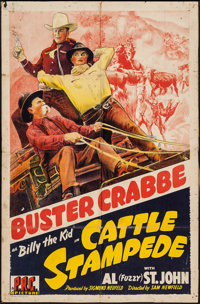 """Cattle Stampede & Others Lot (PRC, 1943). One Sheets (2) (27"""" X 41""""), Lobby Cards (3) (11"""" X 14&q..."""