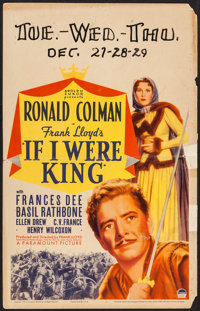 "If I Were King (Paramount, 1938). Window Card (14"" X 22""). Adventure"