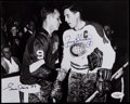 Hockey Collectibles:Photos, Gordie Howe and Jean Beliveau Multi Signed Photograph....