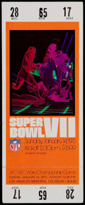 Football Collectibles:Tickets, 1973 Super Bowl VII Full Ticket - Undefeated Dolphins!...