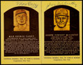 Baseball Collectibles:Others, Max Carey and Joe McCarthy Signed Hall of Fame Plaque Postcards(2)....