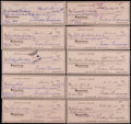 Baseball Collectibles:Others, Ted Williams Signed Checks Lot of 10....