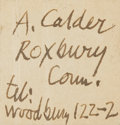 Autographs:Artists, American Sculptor Alexander Calder Signature....