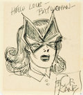 Autographs:Artists, American Comic Book Artist Bob Kane Signature and Original BatwomanSketch....