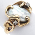 Estate Jewelry:Rings, Freshwater Cultured Pearl, Diamond, Gold Ring. ...