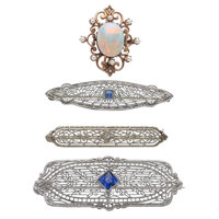 Multi-Stone, Platinum, Gold Brooches