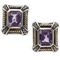 Estate Jewelry:Earrings, Amethyst, Gold, Sterling Silver Earrings. ...