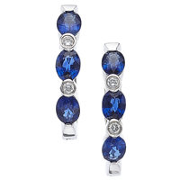 Sapphire, Diamond, White Gold Earrings