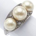 Estate Jewelry:Rings, Cultured Pearl, Diamond, Platinum Ring. ...