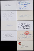 Baseball Collectibles:Others, Misc. Sports Greats Signed Index Cards Lot of 9....