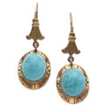 Estate Jewelry:Earrings, Turquoise, Gold Earrings. ...