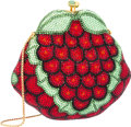 "Luxury Accessories:Accessories, Judith Leiber Full Bead Red & Green Crystal Grapes MinaudiereEvening Bag. Good to Very Good Condition. 5.5"" Width x5..."