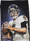 Football Collectibles:Others, 2011 Joe Flacco Signed Artwork by Kevin Charles....