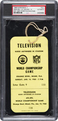 Football Collectibles:Tickets, 1968 Super Bowl II Full Press Pass PSA Authentic, Packers Vs. Raiders - Only Unused Example Graded!...