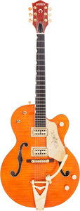Musical Instruments:Electric Guitars, 2012 Gretsch G-6120 Orange Semi-Hollow Body Electric Guitar, Serial # JT12041676....