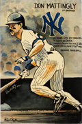 Baseball Collectibles:Others, 2006 Don Mattingly Signed Artwork by Kevin Charles with MLBHologram....