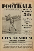 Football Collectibles:Programs, 1930 Green Bay Packers Bulletin Program - With Benny Friedman Image!...
