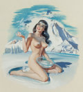 Mainstream Illustration, Ren Wicks (American, 1911-1998). Winter Pin-Up. Gouache onboard. 19.25 x 17.25 in.. Signed lower left. ...