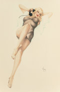 Pin-up and Glamour Art, Alberto Vargas (American, 1896-1982). Lounging on the Phone.Color print. 39.25 x 26 in. (sheet). Ed. 412/450. Numbered ...