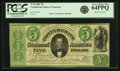 Confederate Notes:1861 Issues, Confederate States of America - T33 1861 $5 PF-19, Cr. 257b. PCGS Very Choice New 64PPQ.. ...