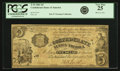 Confederate Notes:1861 Issues, Confederate States of America - T35 1861 $5 PF-1, Cr. 271. PCGS Very Fine 25.. ...