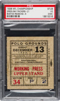 Football Collectibles:Tickets, 1936 NFL Championship Game Packers Vs. Redskins Ticket Stub PSA VG 3 (MK)....