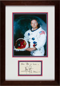 Autographs:Index Cards, Circa 2000 Neil Armstrong Signed Index Card Framed withPhotograph....