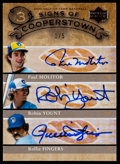 Baseball Cards:Singles (1970-Now), 2005 Upper Deck Hall Of Fame Signs Of Cooperstown Triple Autograph Molitor/Yount/Fingers #MYF - only 5 exist....