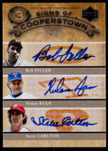 Baseball Cards:Singles (1970-Now), 2005 Upper Deck Hall Of Fame Signs Of Cooperstown Triple Autograph Feller/Ryan/Carlton #FRC - only 5 exist....