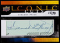 Football Collectibles:Uniforms, 2008 Upper Deck Mystery Iconic Cuts Vincent Price Autograph UD-IC....
