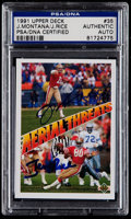 Football Cards:Singles (1970-Now), 1991 Upper Deck Joe Montana/Jerry Rice Signed Card #35 PSAAuthentic....